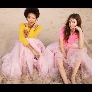 J crew tulle maxi skirt pink